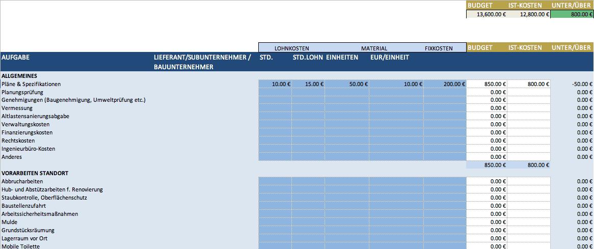 Kostenlose Excel Vorlagen Für Bauprojektmanagement