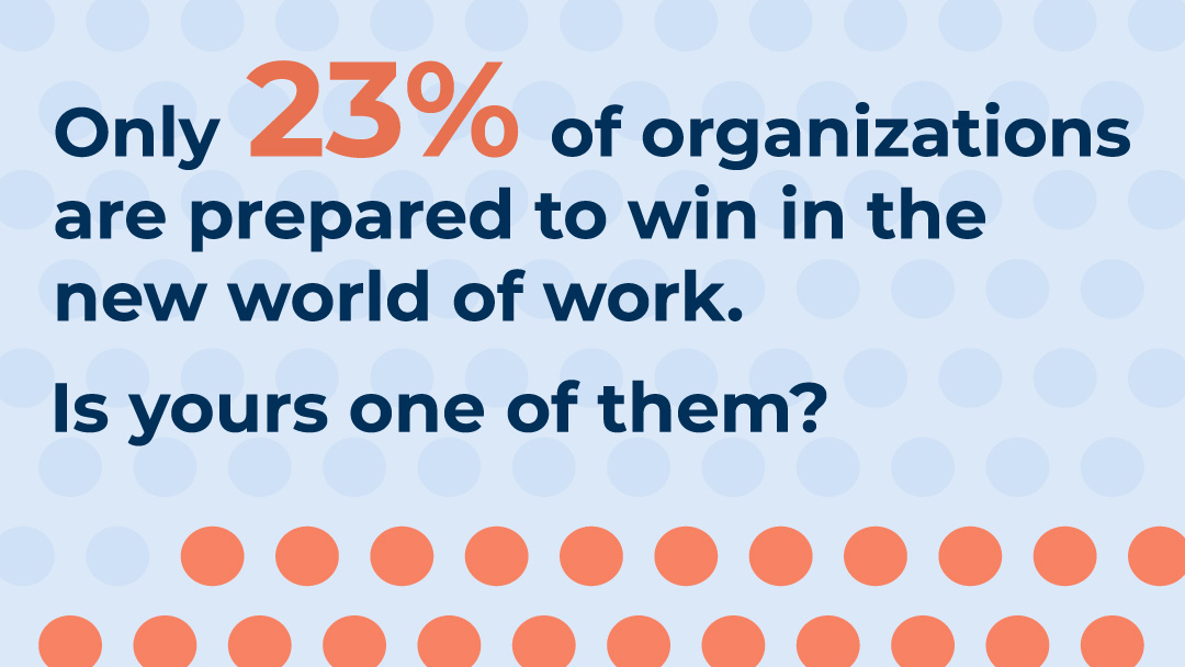 Only 23% of organizations are prepared to win in the new world of work.