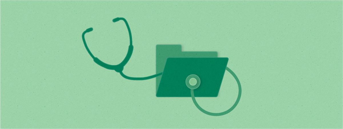 A stethoscope is shown coming out of a file folder, indicating health of a project