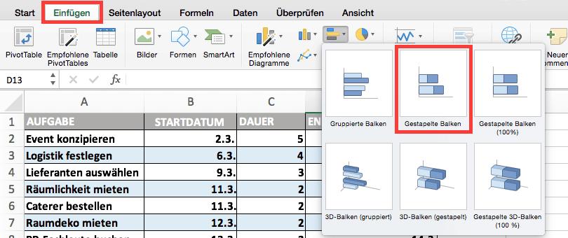Gantt Diagramm In Excel Erstellen