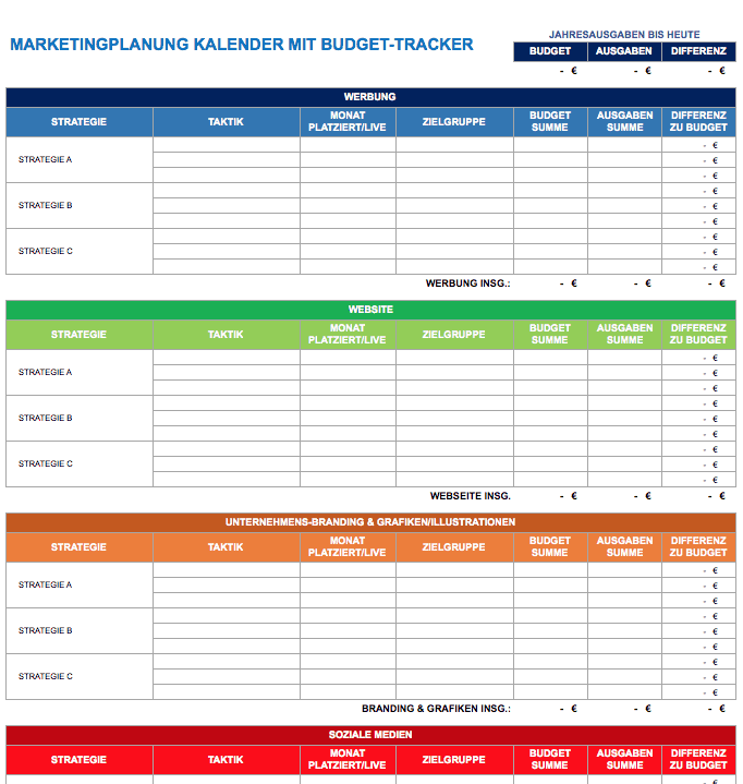 Marketingplanung-Kalender mit Budget-Tracker